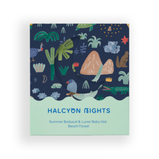 Halcyon Nights Gift Pack - Beach Forest (Baby Hat & Short Sleeve Bodysuit)