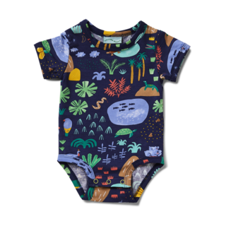 Halcyon Nights Short Sleeve Bodysuit - Beach Forest