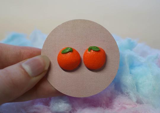 Picnic for Tea Studs - Orange