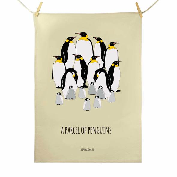 Red Parka Tea Towel - Parcel of Penguins