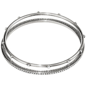Brighton - Neptune's Rings Pave Bangle Set - Silver