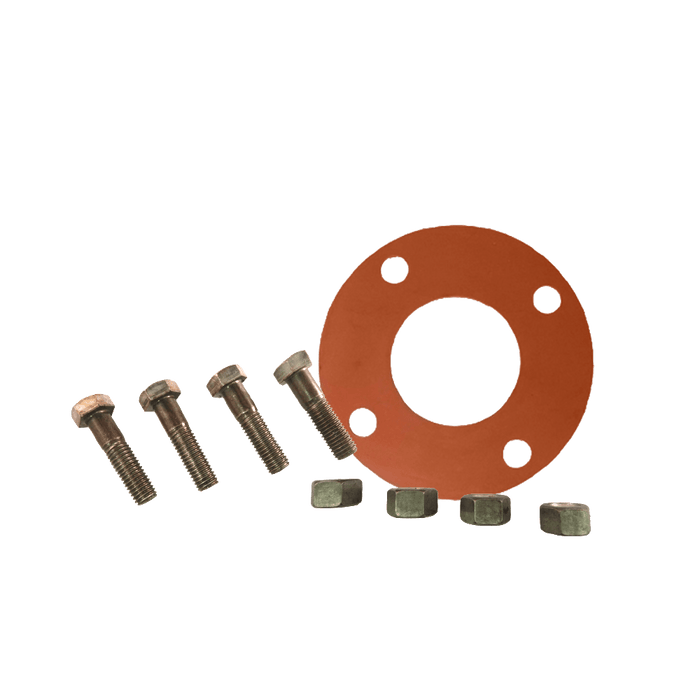 Gasket Flange Pack w/ Red Rubber FULL FACE Gaskets 1/8'' and ZINC PLATED Hardware - Unimech