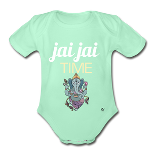 Jai Jai Time - Organic Short Sleeve Baby Bodysuit - light mint