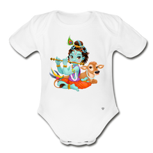 Load image into Gallery viewer, Krishna - Organic Short Sleeve Baby Bodysuit - white