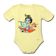 Load image into Gallery viewer, Krishna - Organic Short Sleeve Baby Bodysuit - washed yellow