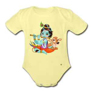 Krishna - Organic Short Sleeve Baby Bodysuit - washed yellow