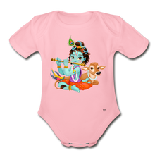 Load image into Gallery viewer, Krishna - Organic Short Sleeve Baby Bodysuit - light pink