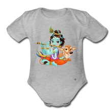 Load image into Gallery viewer, Krishna - Organic Short Sleeve Baby Bodysuit - heather gray