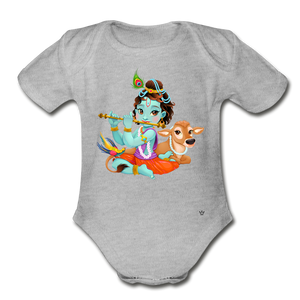 Krishna - Organic Short Sleeve Baby Bodysuit - heather gray