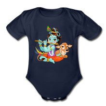 Load image into Gallery viewer, Krishna - Organic Short Sleeve Baby Bodysuit - dark navy