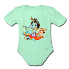 Load image into Gallery viewer, Krishna - Organic Short Sleeve Baby Bodysuit - light mint