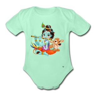 Krishna - Organic Short Sleeve Baby Bodysuit - light mint