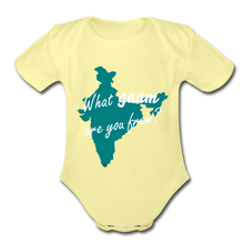 Load image into Gallery viewer, What gaam are you from? Organic Short Sleeve Baby Bodysuit - washed yellow