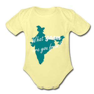 What gaam are you from? Organic Short Sleeve Baby Bodysuit - washed yellow