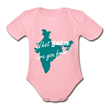 Load image into Gallery viewer, What gaam are you from? Organic Short Sleeve Baby Bodysuit - light pink