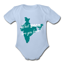 Load image into Gallery viewer, What gaam are you from? Organic Short Sleeve Baby Bodysuit - sky