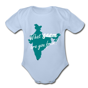 What gaam are you from? Organic Short Sleeve Baby Bodysuit - sky