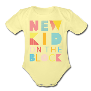 New Kid On The Block - Organic Short Sleeve Baby Bodysuit - washed yellow