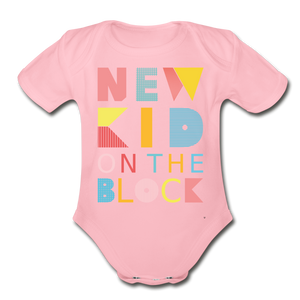 New Kid On The Block - Organic Short Sleeve Baby Bodysuit - light pink