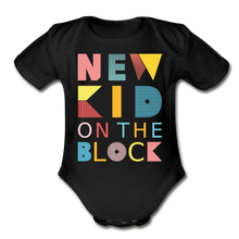 Load image into Gallery viewer, New Kid On The Block - Organic Short Sleeve Baby Bodysuit - black