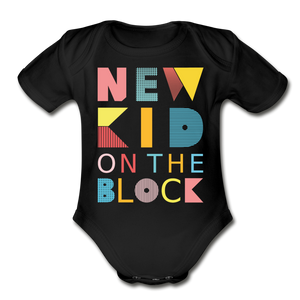 New Kid On The Block - Organic Short Sleeve Baby Bodysuit - black