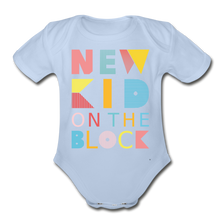 Load image into Gallery viewer, New Kid On The Block - Organic Short Sleeve Baby Bodysuit - sky