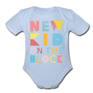 New Kid On The Block - Organic Short Sleeve Baby Bodysuit - sky