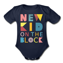 Load image into Gallery viewer, New Kid On The Block - Organic Short Sleeve Baby Bodysuit - dark navy