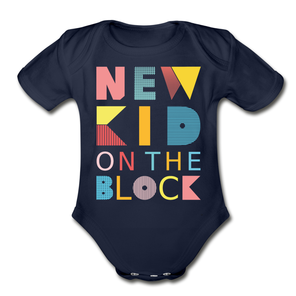 New Kid On The Block - Organic Short Sleeve Baby Bodysuit - dark navy
