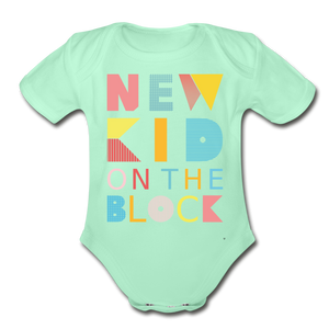 New Kid On The Block - Organic Short Sleeve Baby Bodysuit - light mint