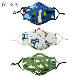 Kids / children 100% Cotton Cloth Mask with PM2.5 Filter (Pack of 3)
