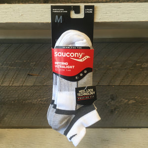 Saucony Inferno Ultralight No Show Tab 3-Pack Socks - White