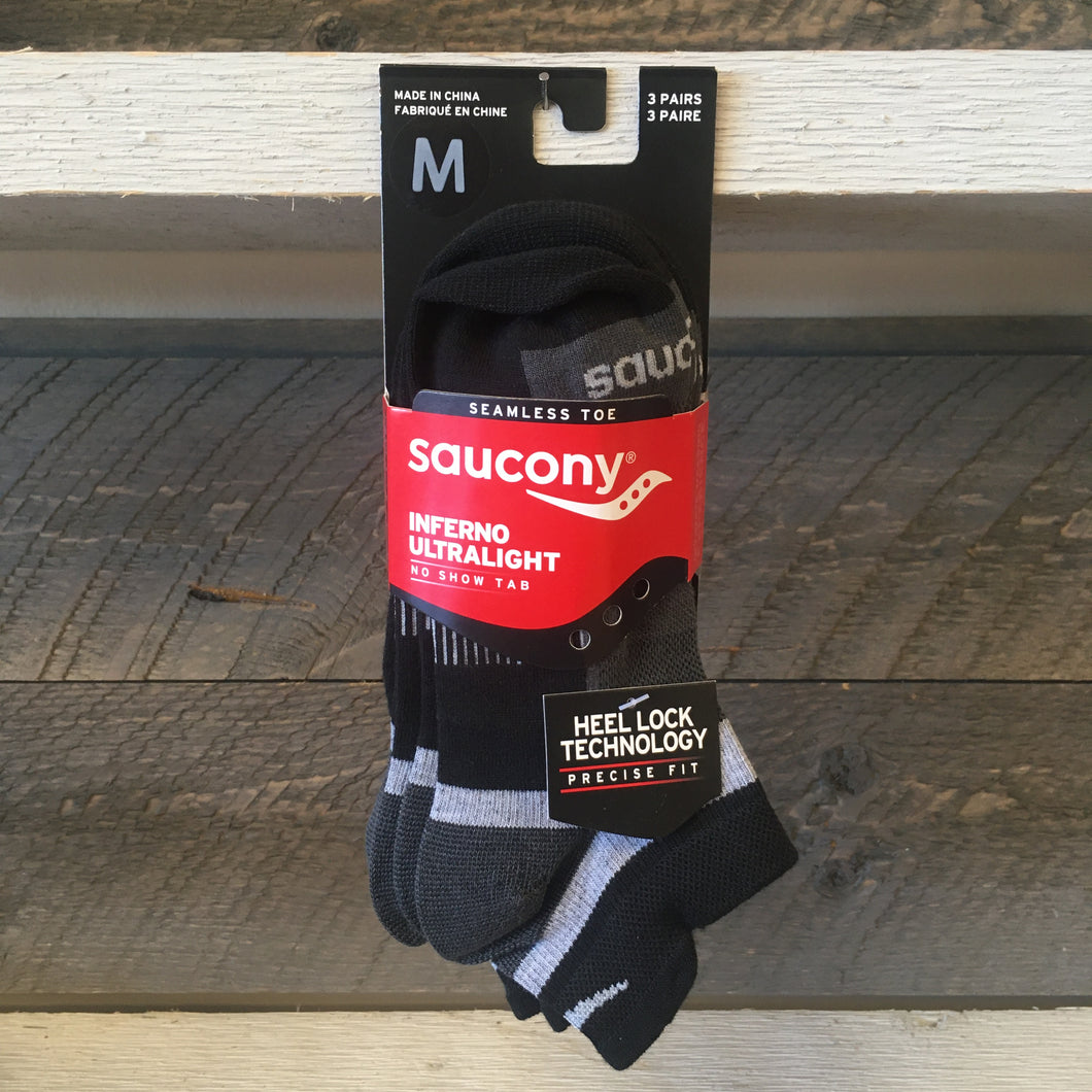 Saucony Inferno Ultralight No Show Tab 3-Pack Socks - Black
