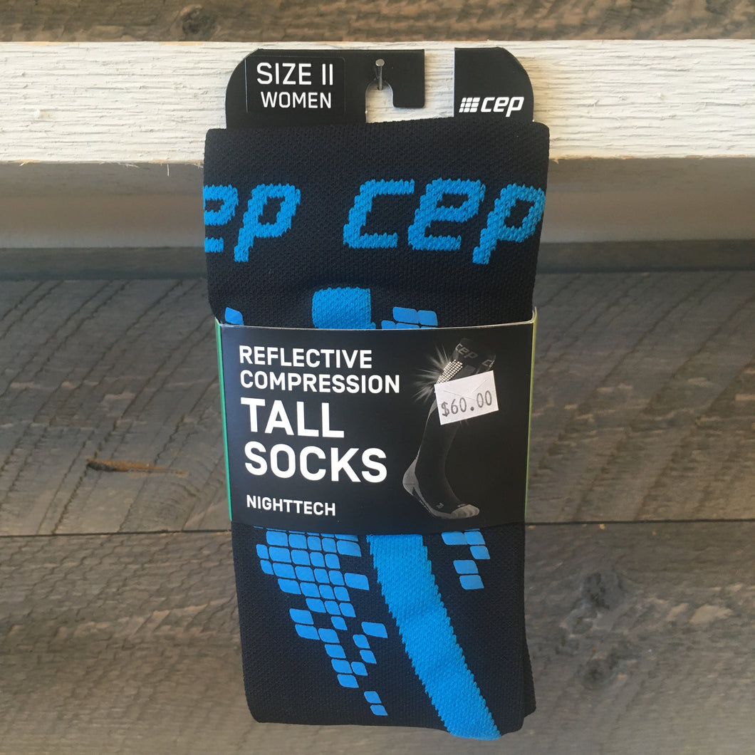 CEP Compression Women's NightTech Tall Compression Sock - Blue/Black
