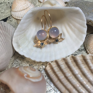 Chalcedony & Blue Sapphire Earrings