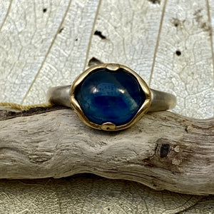 Blue Sapphire Cabochon Ring in 18k Gold & Silver