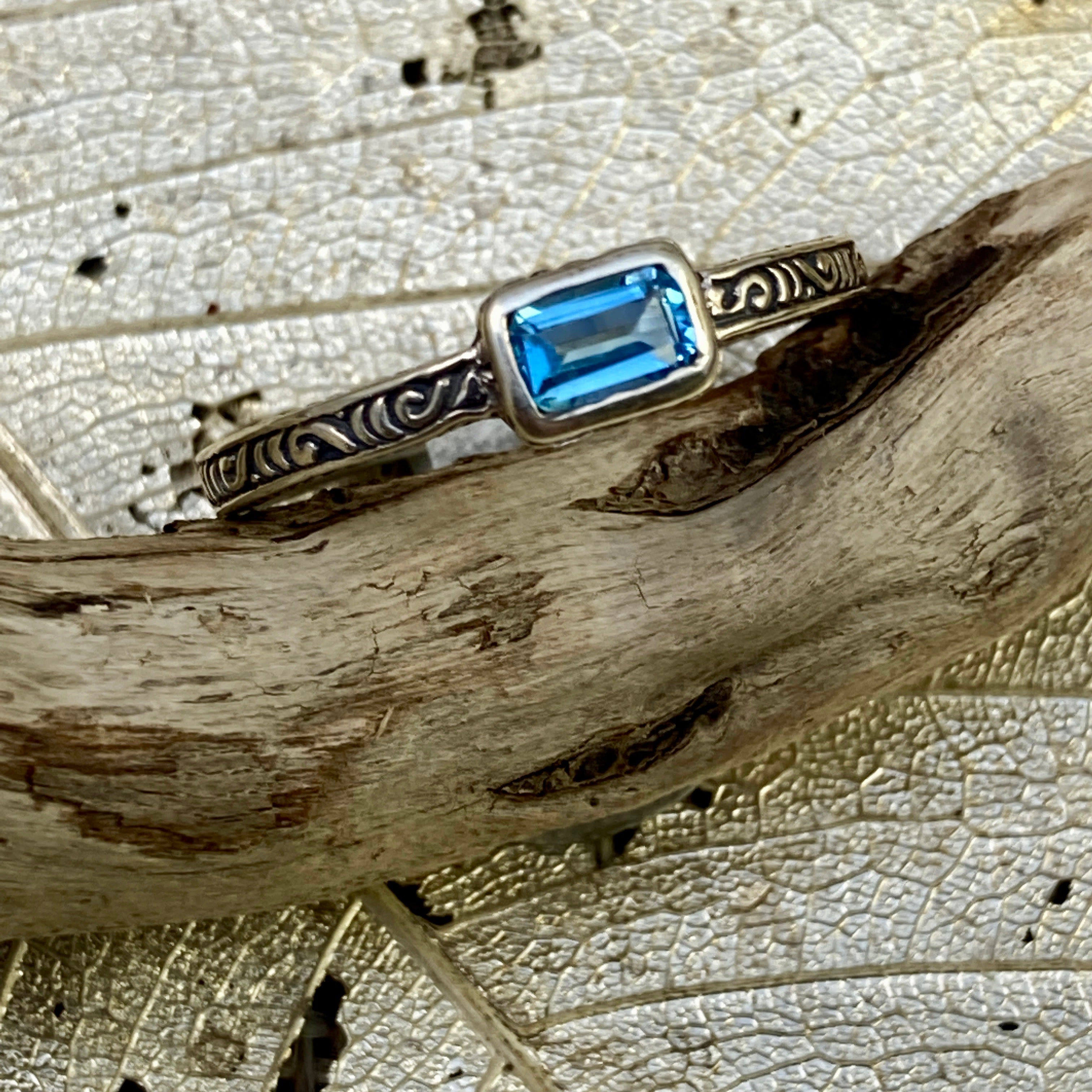 Rectangular, Slim Blue Topaz Ring