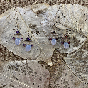 Chalcedony & Red Garnet or Purple Amethyst Earrings