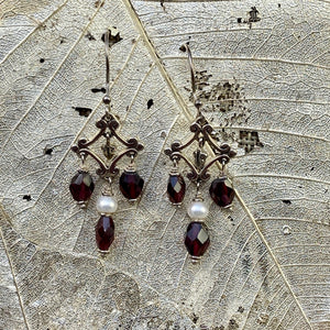 Red Garnet & Freshwater Pearl Earrings
