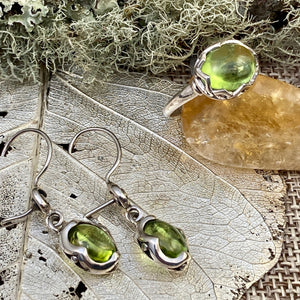 Peridot Cabochon Ring & Earrings