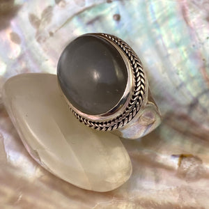 Gray Moonstone Cabachon Ring