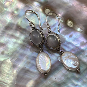 Gray Moonstone & Coin Pearl Earrings