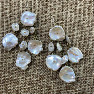 Silver Dollar Keshi Pearl Earrings