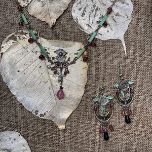 Enamel with Tourmaline Necklace & Earrings
