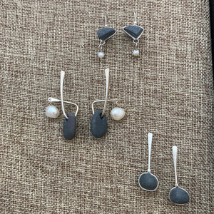 Pebble Earrings with Pearls