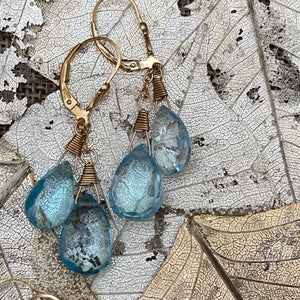 Double Drop Blue Topaz Earrings