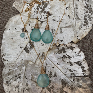 Chalcedony Necklace & Earrings