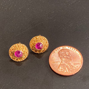 18k Gold Ruby Post Earrings
