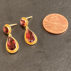 18k Gold Garnet Post Drop Earrings