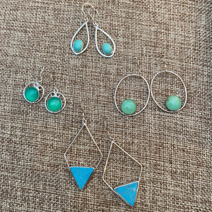Gemstone Geometric Frame Earrings